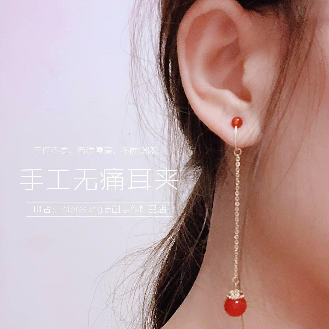 无耳洞不疼手作耳环气质红玛瑙挂坠舒适14k包金蚊香盘耳夹可定做