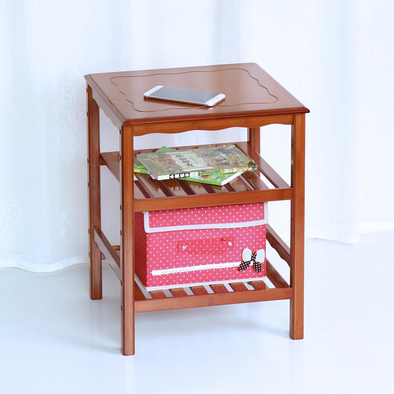 楠竹實木小型床頭櫃簡約現代收納櫃移動書櫃滑輪置物架子特價