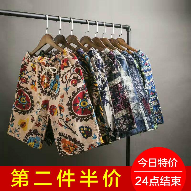 Mens summer pure cotton Capris national style big flower underpants cotton hemp beach pants breathable casual loose shorts