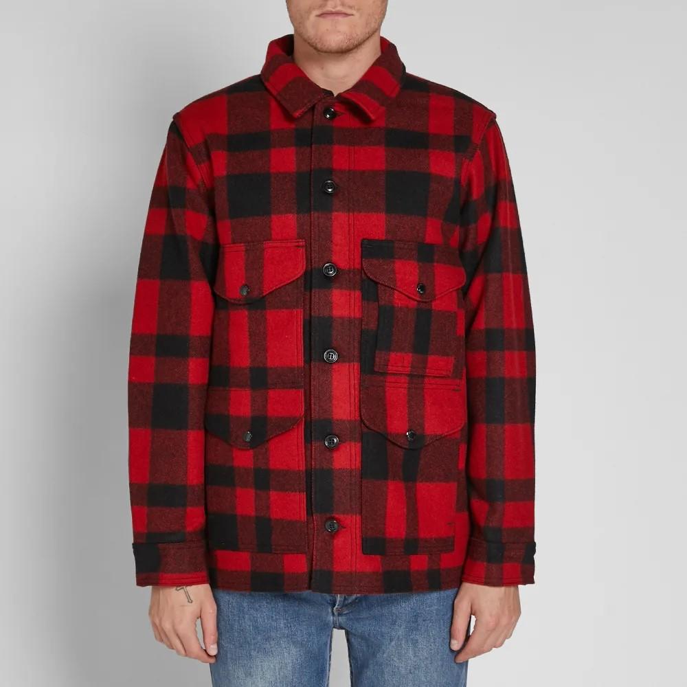 美国制造 Filson 经典 羊毛呢 大衣 夹克男 红黑格子 10043