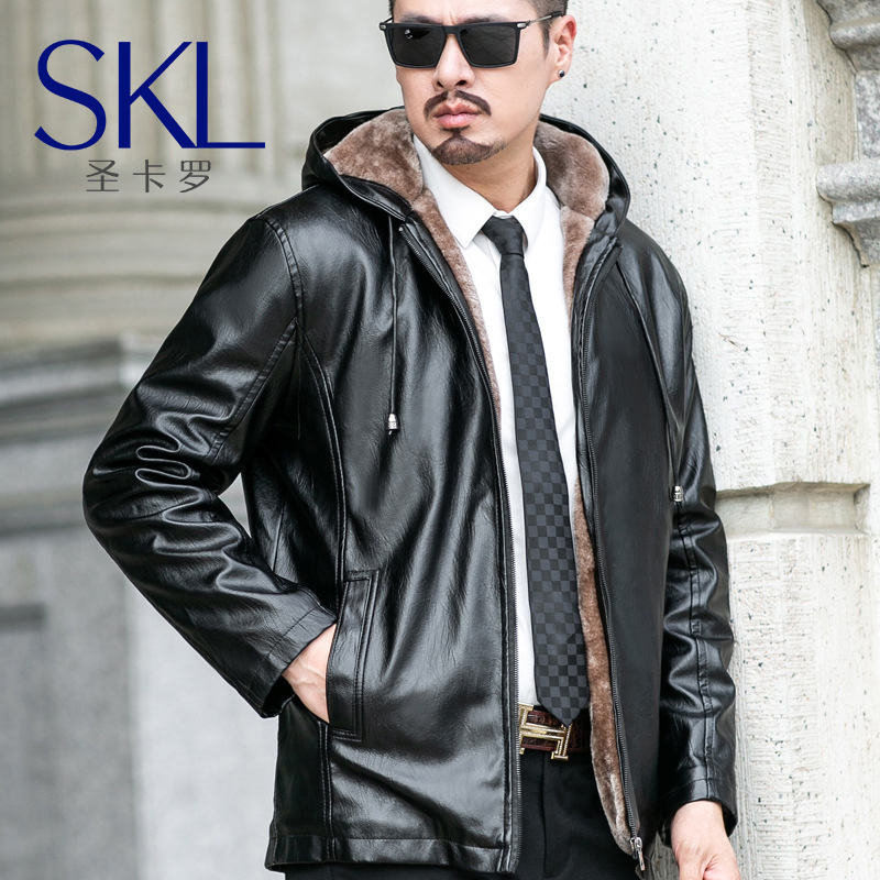 Hooded mens leather jacket Plush jacket middle-aged mens thickened winter cold proof PU leather cycling suit Hooded Coat