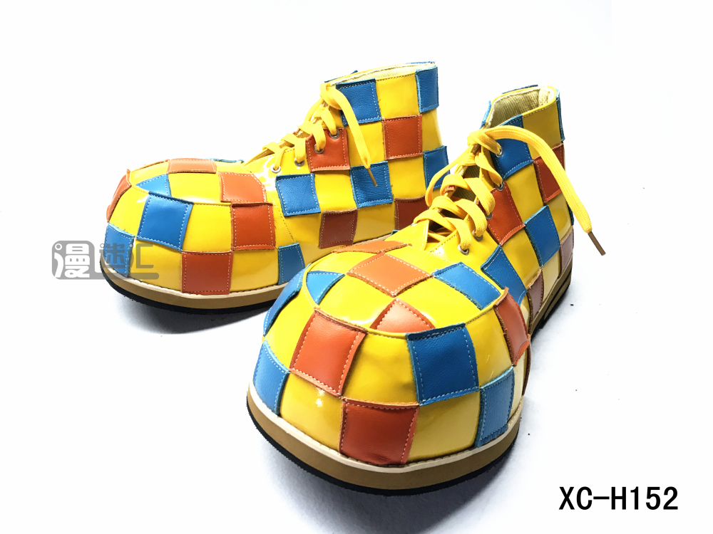 High end color checkered big round head series clown shoes clown role playing shoes xc-h152