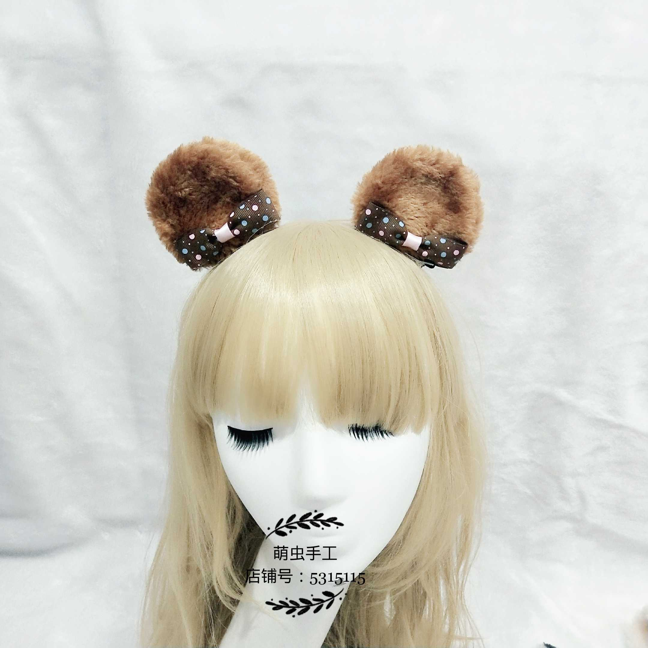 Lolita soft cute girl sweetheart two dimensional diffuse hairpin Lolita versatile photo bear ear hairpin