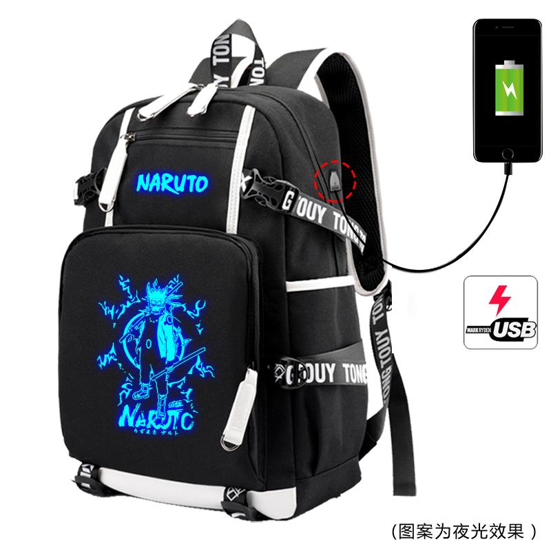 Junior high school schoolbag male Naruto Naruto luminous code lock backpack college printed Backpack