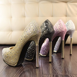 Blingbling lady high heel shoes with rhinestone new han edition style gold shining light mouth with waterproof