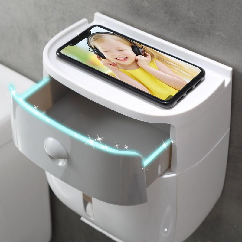 创意卫生间纸巾盒厕所卫生纸置物架免打孔卷纸筒擦手纸抽纸厕纸盒