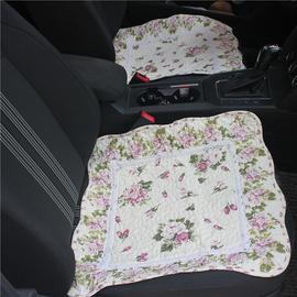 布艺汽车垫女四季通用小车五座无靠背蕾丝车垫纯棉座垫单片布坐套