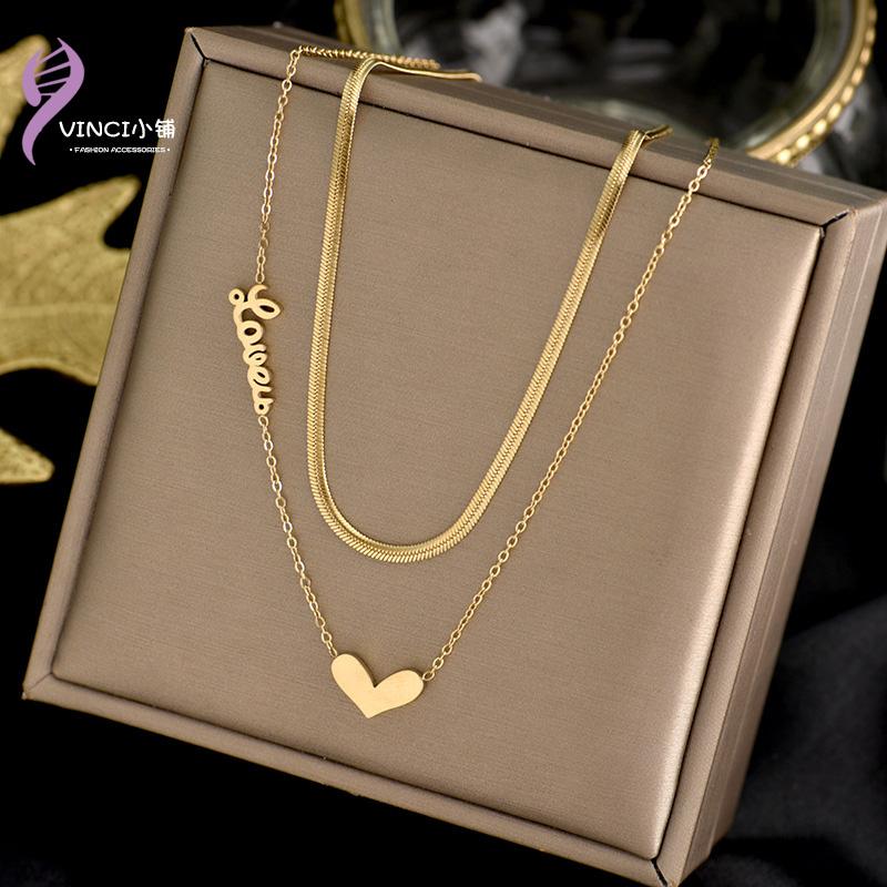Titanium steel multi-layer English letter necklace Korean Fashion Love Pendant New clavicle chain personalized neck ornament female
