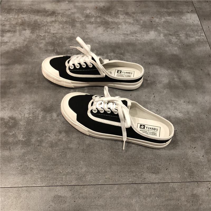 2021新款无跟子女夏季小白帆布鞋