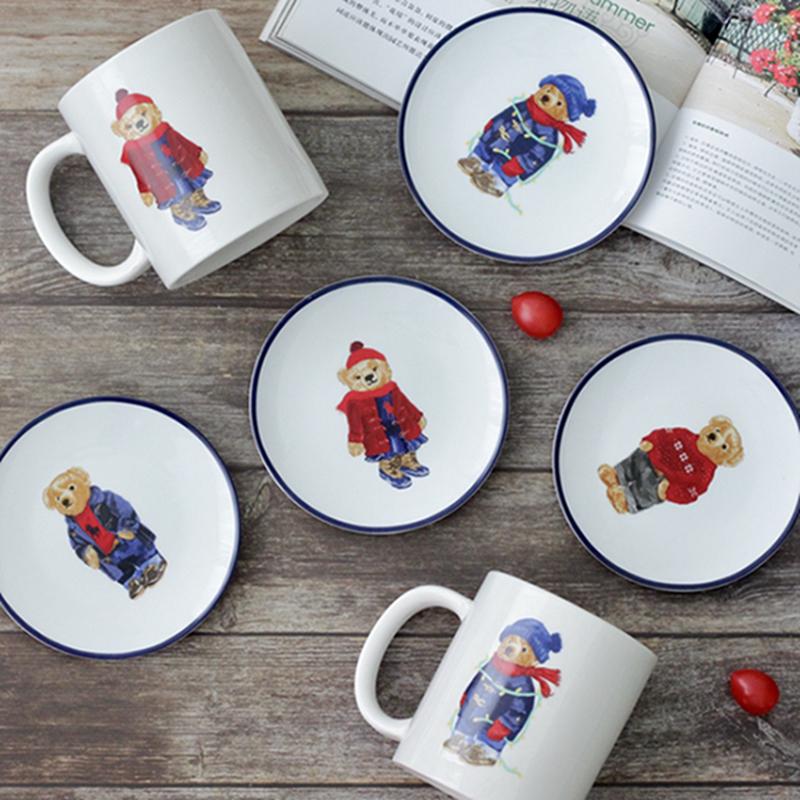 一鴻藝居 陶瓷餐具 可愛POLO泰迪熊小碟子 甜品碟 大容量馬克杯