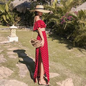 2021新款女一字肩连衣裙旅游沙滩裙