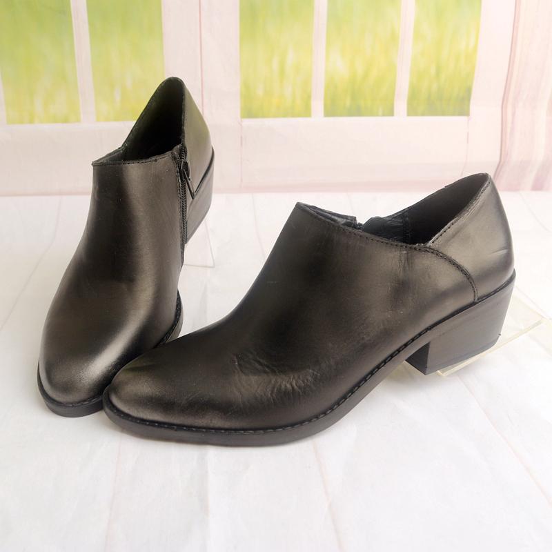 粗跟中跟复古牛皮真皮圆头时尚深口女鞋子个性百搭女士单鞋X126-1