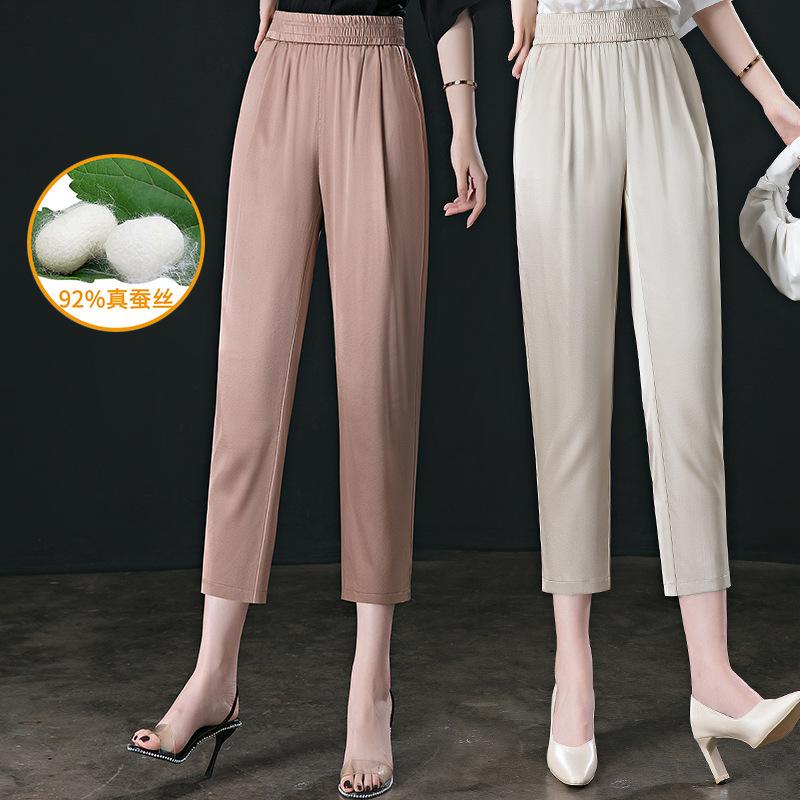 妈妈女夏季真丝裤子新款中年时尚气质桑蚕丝绸中老年直筒松九分裤