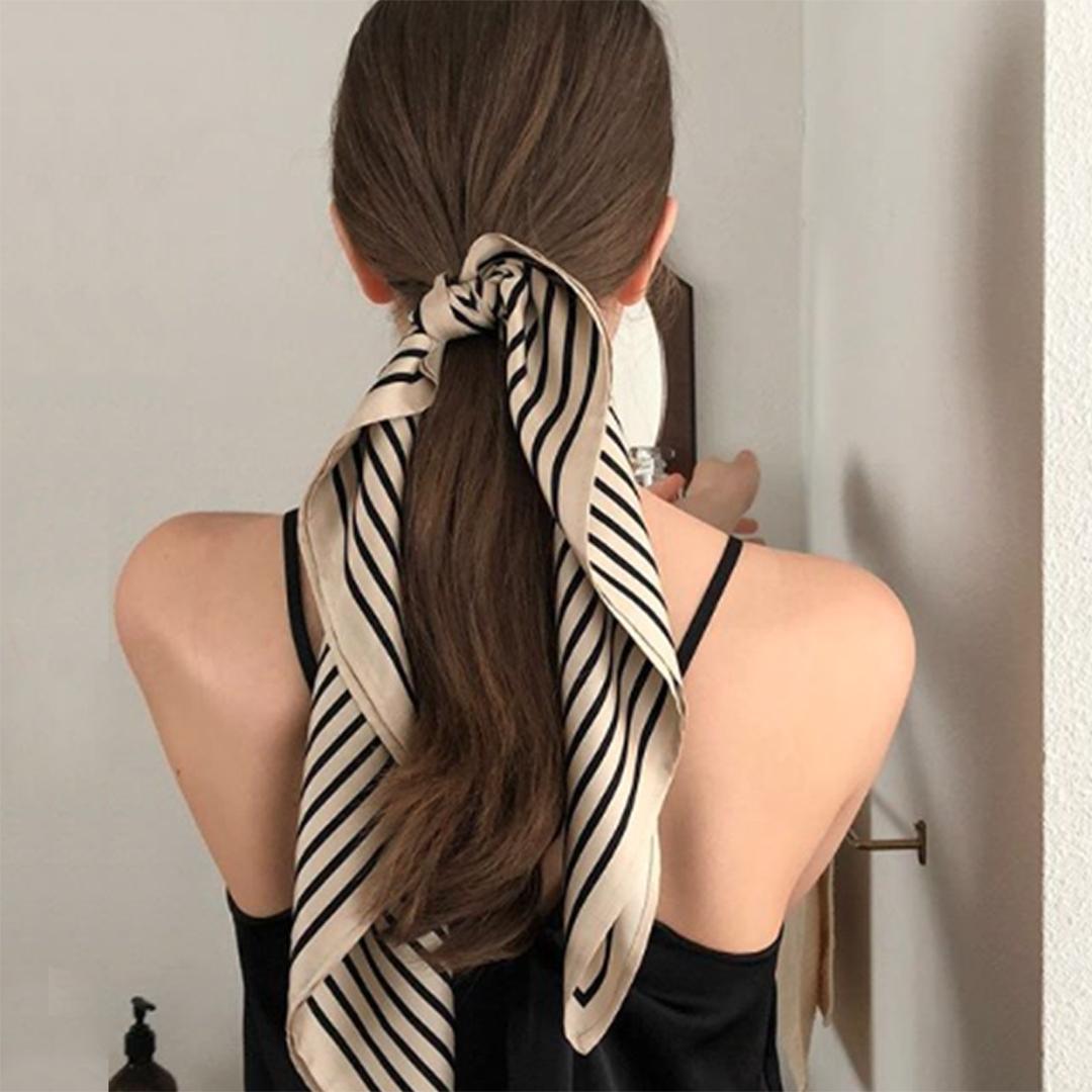 New Retro Mini silk scarf with stripes for professional versatile MINI SQUARE SCARF headband for womens autumn Korean decorative scarf Headband