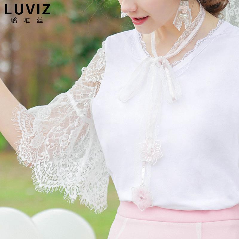 中袖上衣女春装白色蕾丝拼接体恤女v领套头喇叭袖小衫(不含项链)