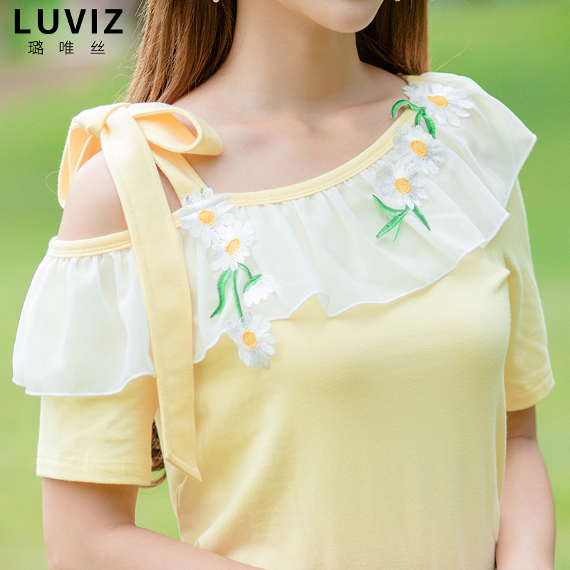 短袖T恤女夏清新露肩上衣甜美森女小衫