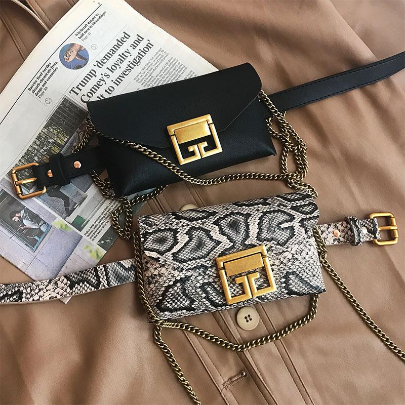 ins复古蛇皮纹小腰包女皮带2019新款链条原创迷你腰包手机包包潮