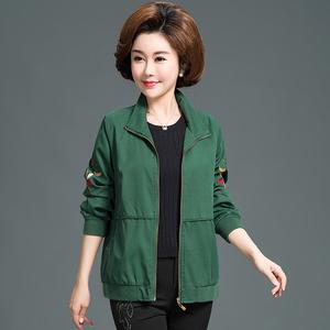 新款中老年女装上衣 纯棉外套 春秋季宽松妈妈装大码长袖夹克短款