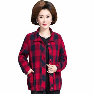 中老年女装纯棉格子薄外套 妈妈宽松长袖夹克加大码开衫2021春秋