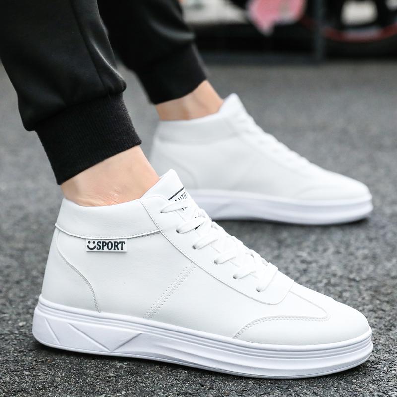 冬季鞋子男潮鞋男士韩版情侣款小白鞋潮厚底百搭学生高帮板鞋潮流