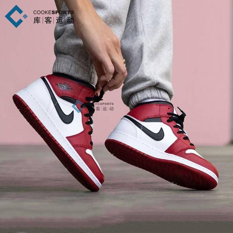 库客 Air Jordan 1 Mid AJ1白红小芝加哥中帮篮球鞋男554724-173图片