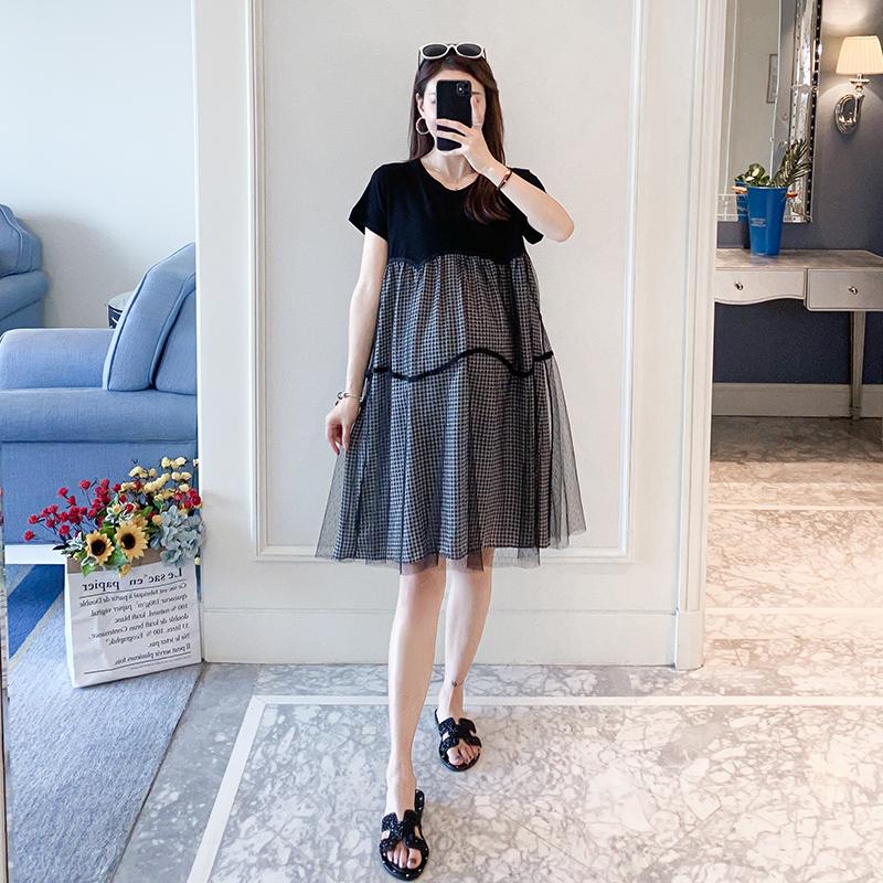 孕妇连衣裙夏装2020网红新款潮辣妈时尚个性网纱拼接洋气夏天裙子