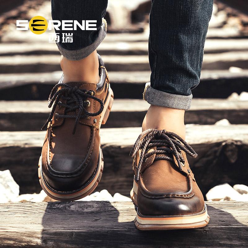 西瑞男士休闲皮鞋真皮内增高鞋子男鞋秋季商务低帮英伦大头工装潮