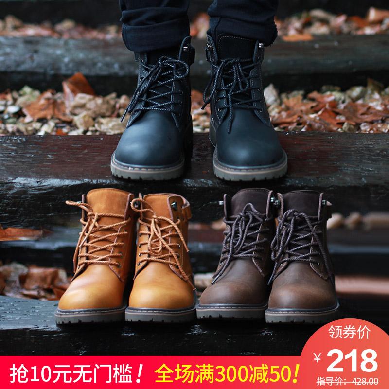 马丁靴男潮皮靴子高帮雪地短靴中帮英伦军靴工装男鞋冬季加绒保暖
