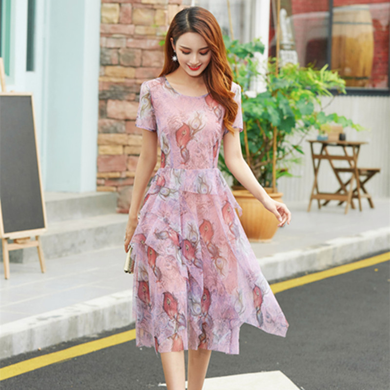 Dota Yixiu dress large womens temperament round neck printed breathable mesh 2020 new products 30-40-50 years old