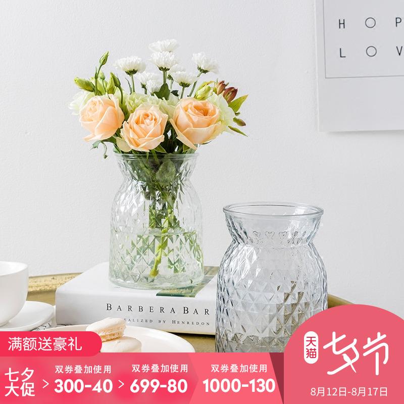 奇居良品 现代简约家居装饰摆件花瓶 克瑞格水培玻璃花瓶花插H