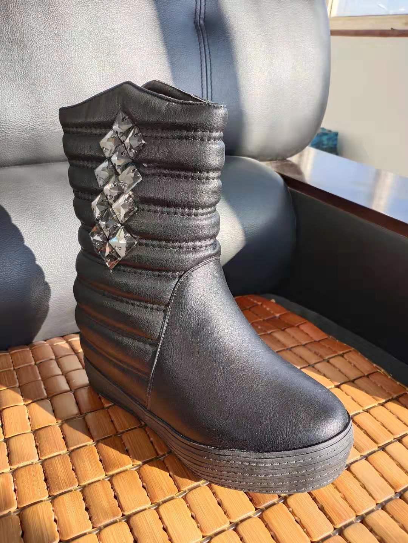 2018秋冬新款正品温州韩版时尚女靴棉靴 坡跟侧拉链水钻女鞋清仓