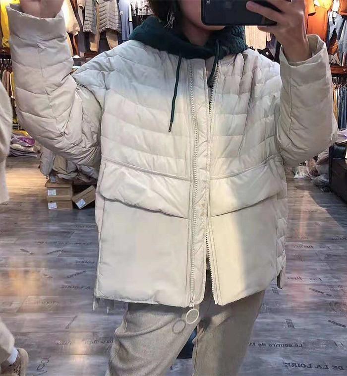 米索18306秋冬新款韩版时尚宽松大码棒球领女轻薄白鸭绒羽绒服图片