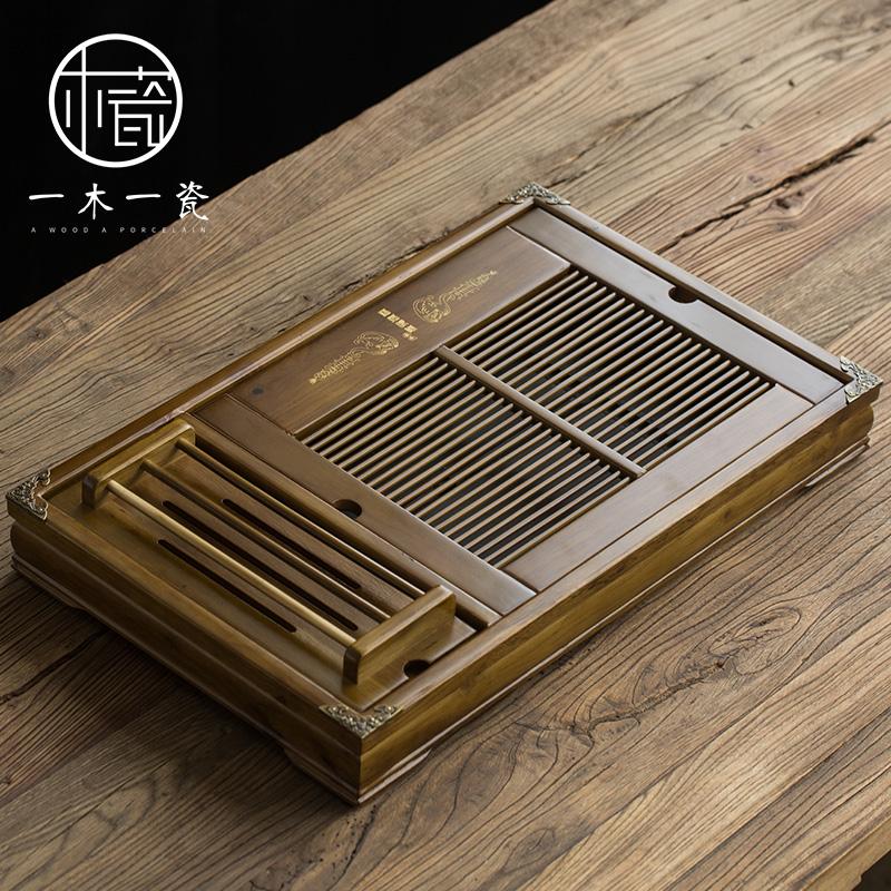 简约干泡茶台实木茶盘功夫茶具茶海储水抽屉长方形托盘家用大号