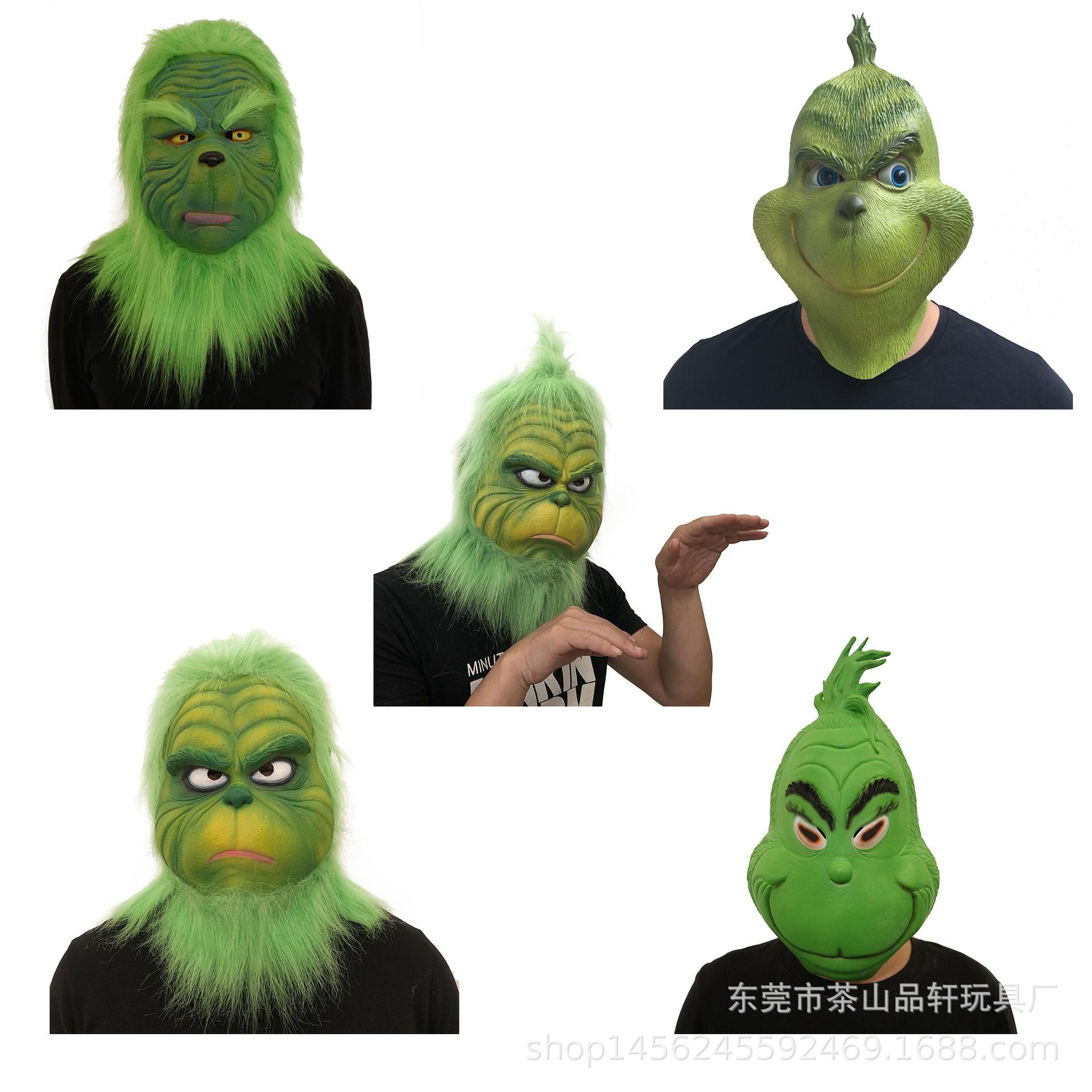绿毛怪格林奇面具头套 cos圣诞节面具电影周边舞会角色服装道具 Изображение 1