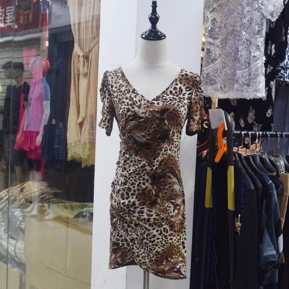 Jumpsuit 3D three-dimensional printing leopard double peach velvet summer new womens skirt super value Hip Wrap slimming dress