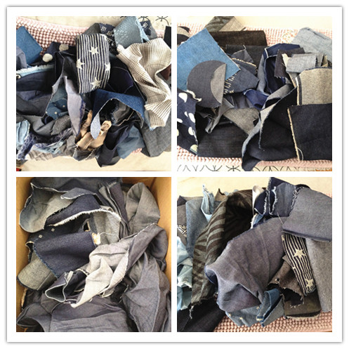 Fabric Transformation: denim fabric, denim clothes and trousers, rags, patchwork, pasted cloth, blue dyed cloth