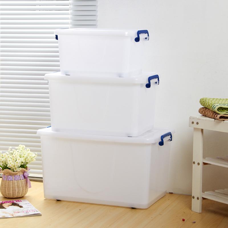 限时抢购加厚白色塑料储物箱大号有盖滑轮整理箱收纳盒衣物衣服塑料箱包邮
