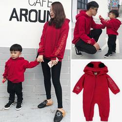 婴儿新生儿亲子装秋冬装2020新款一家三口母女母子红色加绒卫衣潮