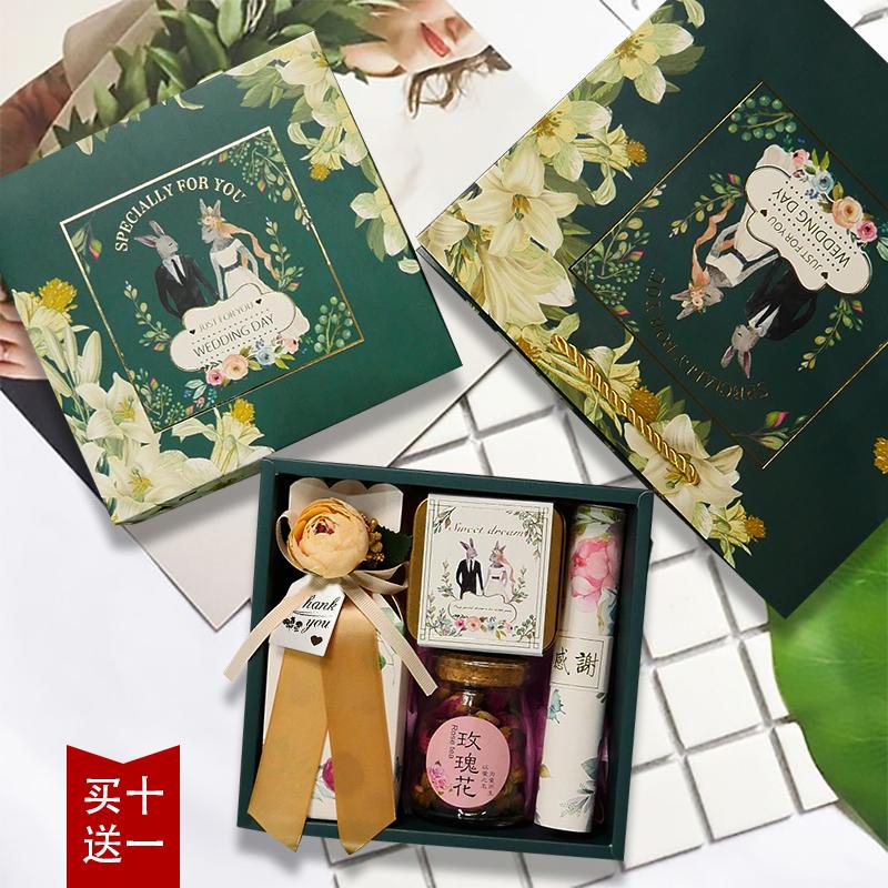 喜糖盒结婚伴郎伴娘伴手礼包装盒创意韩版小清新公司商务伴手礼品有赠品