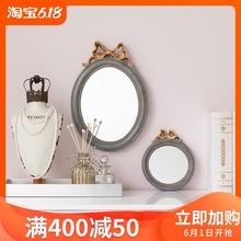 收获小屋出口美国复古仿实木化妆镜台镜挂墙壁饰蝴蝶结大小号