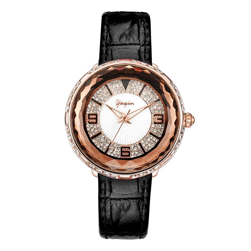 雅琴时装表满天星时尚潮流精致真皮防水女士手表