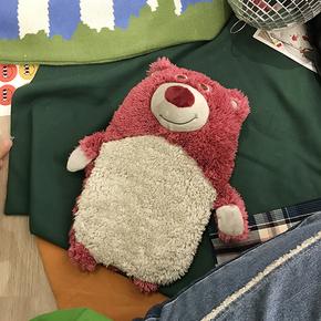 毛绒卡通可爱简约个性粉小熊热水袋便携注水学生保暖宿舍暖手宝