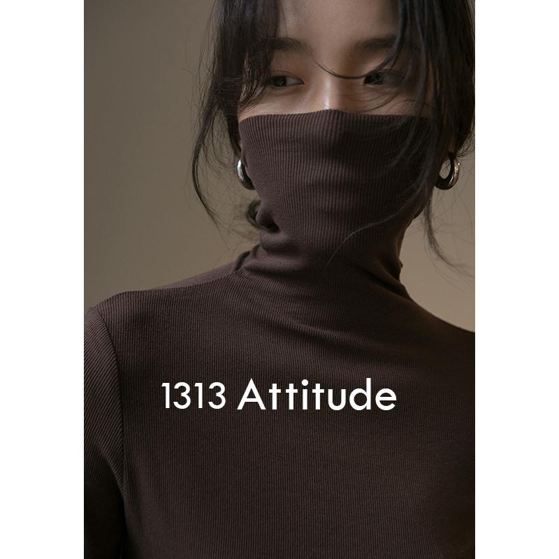 黑紫色罗纹长袖恤内搭洋气T1313三色半高领堆堆弹力打底衫女秋冬
