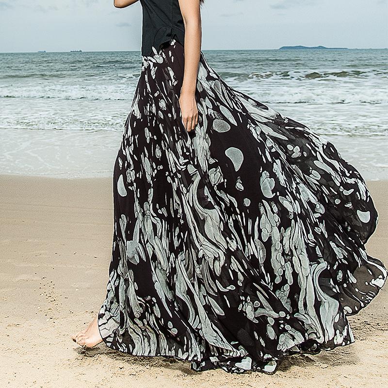 2016夏新款韩版高腰黑色印花白色百褶半身裙A字长裙仙女大摆裙子图片