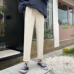 MG小象寬松直筒休閑褲女2020春季新款韓版時尚顯瘦學生闊腿運動褲