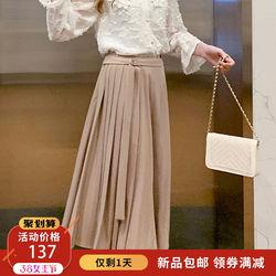 MG小象高腰半身裙女2019春季新款中长款复古学生裙子一片式a字裙