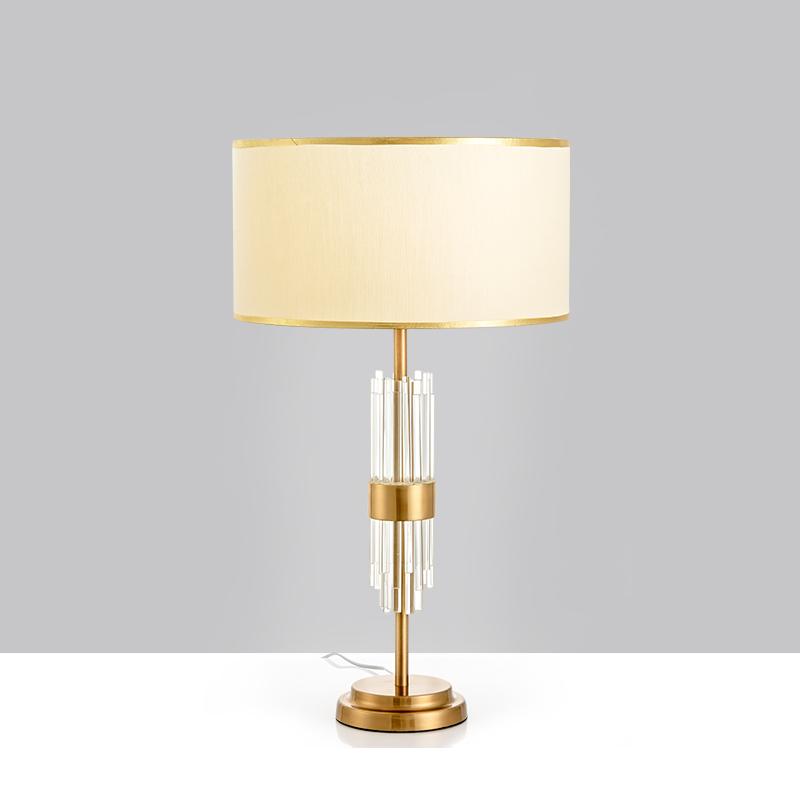 美式古铜色水晶玻璃台灯艺术样板房奢华透明金色客厅台灯