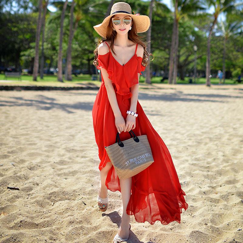 粉红大布娃娃红色夏季女装沙滩裙199.00元包邮