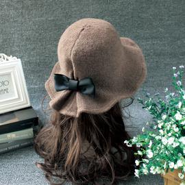 秋冬天羊毛呢帽子女士时尚圆顶礼帽韩国可爱百搭盆帽网红渔夫帽潮