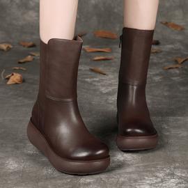 靴子女秋冬季2020新款真皮复古马丁靴坡跟厚底中筒靴防滑加绒棉鞋